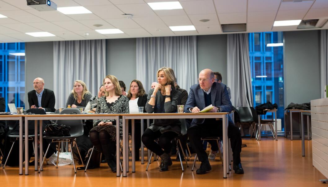 Spente helse- og samfunnsledere under høgskolestyrets møte torsdag 18.desember. Foto: Skjalg Bøhmer Vold
