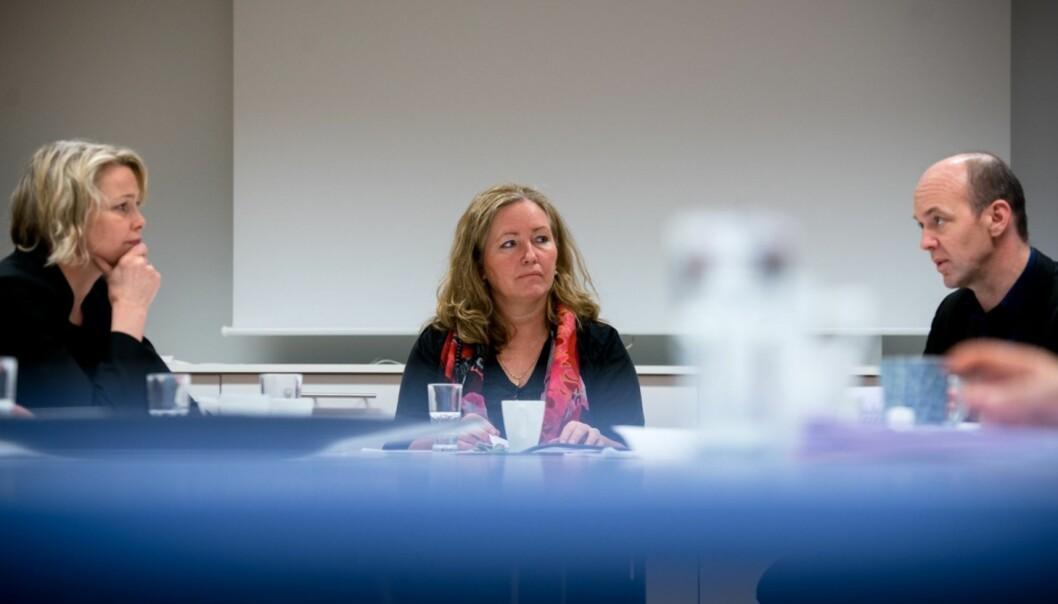 De to topplederne ved Høgskolen i Oslo og Akershus, Kari Toverud Jensen (t.v.) og høgskoledirektør Ann Elisabeth Wedø (midten) kan komme til å slutte samtidig, 1.august neste år, dersom styret vedtar forslaget om enhetlig ledelse og dermed følger flere av forslagene til NIFUs Kyrre Lekve bl.a.(t.h.).