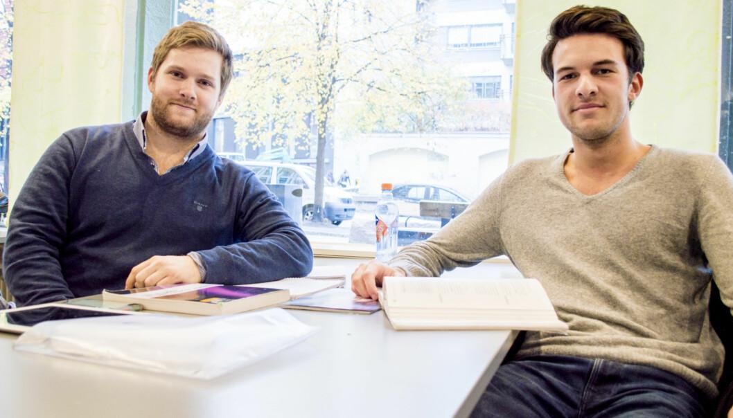 Ingeniørstudentene Knut Henes og Tore Mittet er overrasket over høy tall for dopingbruk knyttet til eksamen. FOTO: PetterEgge