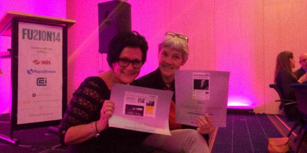Redaktør Tove Lie og produsent Eva Tønnessen var strålende fornøyd med å ta i mot høythengende nordiske priser og hederlig omtale for nettstedet Khrono totalt og en enkeltartikkelside.
