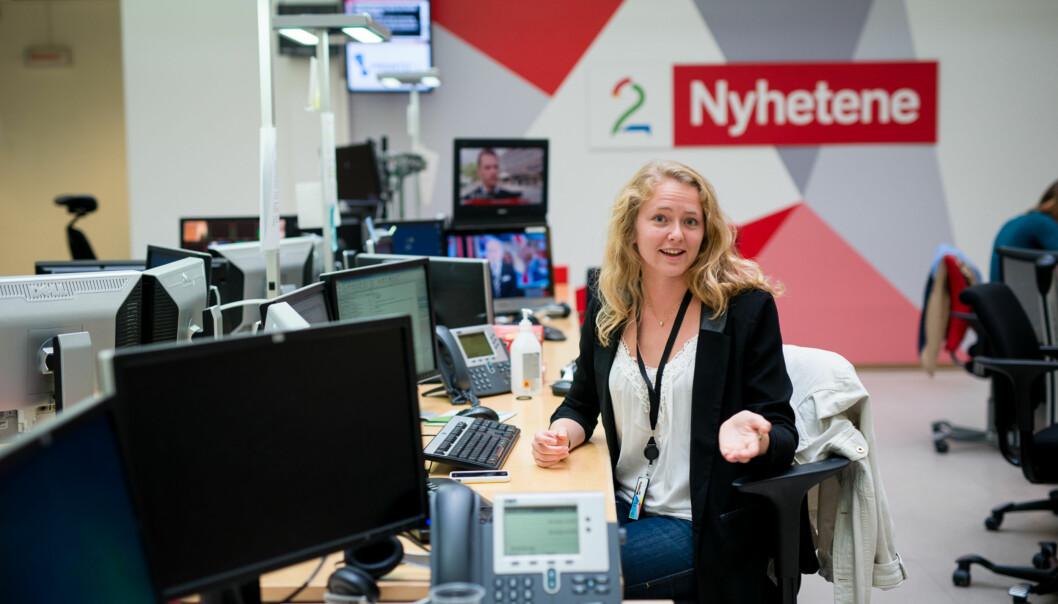 Hun tok realfag på videregående og hadde planer om å bli lege eller ingeniør, men så tok journalistikken Margrethe HålandSolheim. Foto: Skjalg Bøhmer Vold