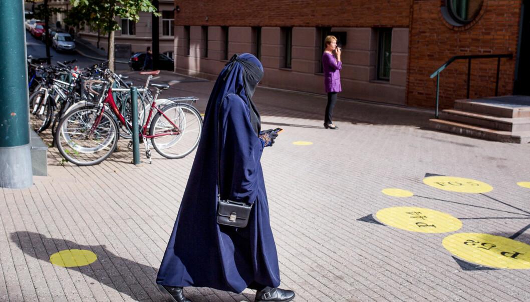 Denne kvinnelige studenten ønsket å bruke nikab ved undervisning på Høgskolen i Oslo og Akershus, men sluttet før hun rakk å komme igang med studiene i2014. Foto: Eskil Wie