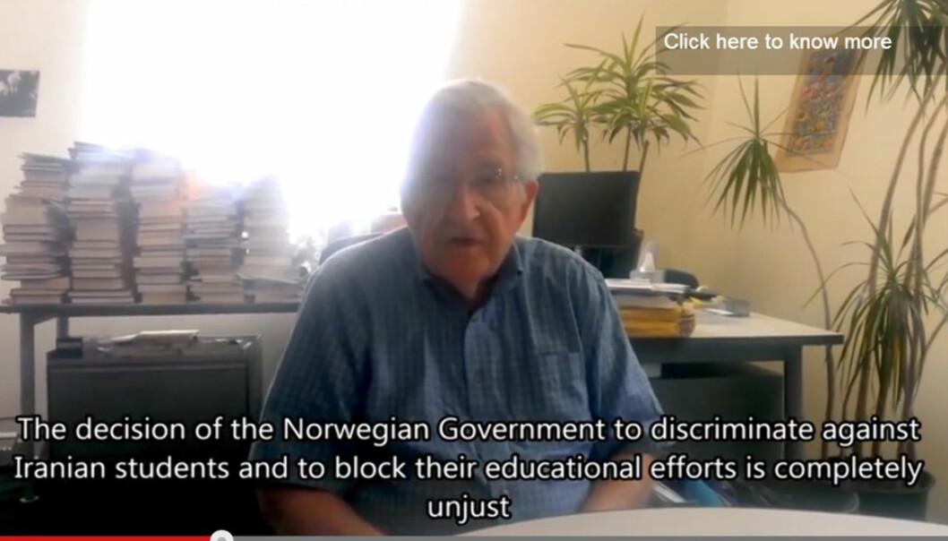 Noam Chomsky snakker om norsk utestenging av studenter fra Iran i video på youtube. FOTO:Youtube