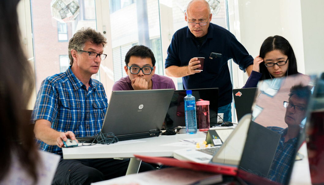Martin Wollenweider, Zhi Chang, Helge Høivik.Sommerskole for internasjonale studenter på HiOA. Foto: Skjalg Bøhmer Vold