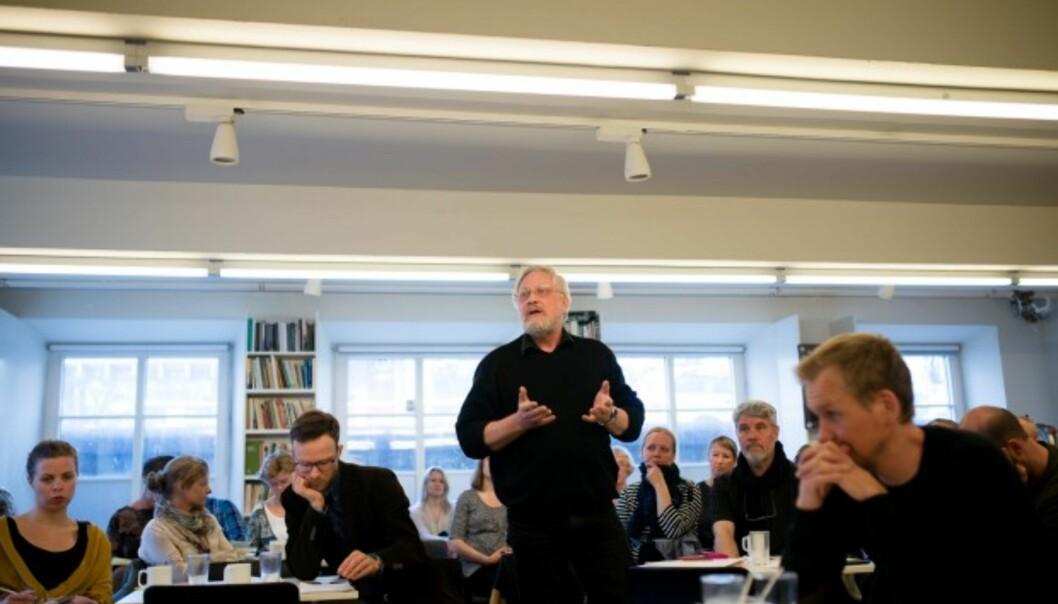 Forsker Lars Gule på debattmøte om forskningsetikk der debatten om å intervjue terrordømte Breivik kom opp ivår.