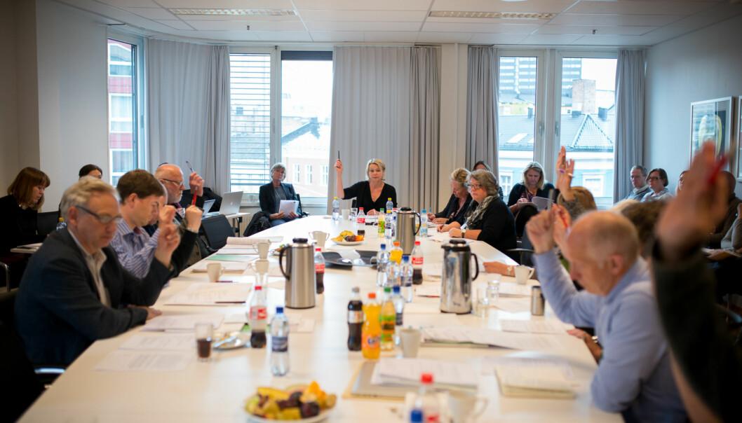 Fra møtet i høgskolestyret for Høgskolen i Oslo og Akershus (HiOA), 6. mai2014. Foto: Skjalg Bøhmer Vold