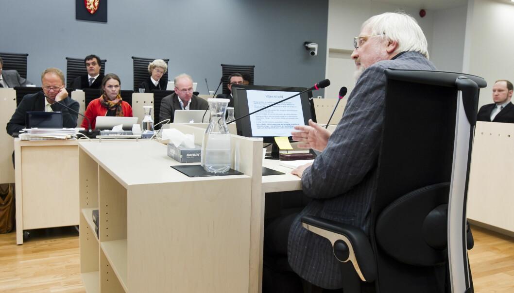 Lars Gule var et av forsvarets ekspertvitner under rettssaken (bildet) mot terrordømte Anders Behring Breivik. Nå har Breivik tilbudt ham og flere andre å forske på ham og hansideologi. Foto: Heiko Junge / NTB scanpix