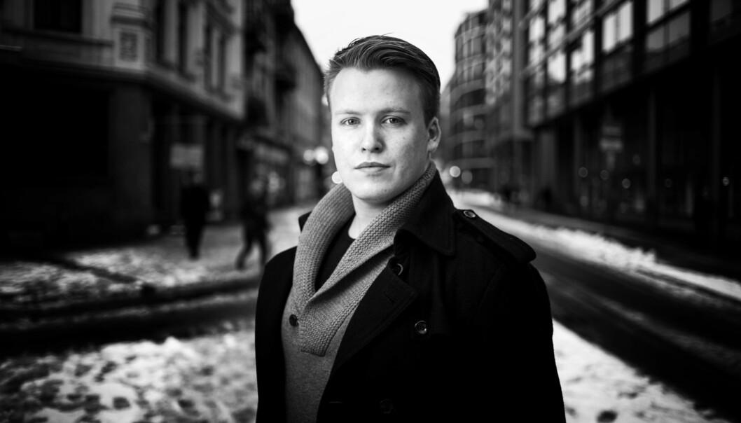 HiOA-studenten Christoffer Storm Tiller Alsvik (24) synes studentpolitikk er så morsomt at han bruker mesteparten av fritiden sin tildette. Foto: Patrick da Silva Sæther
