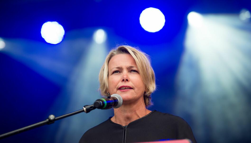 Rektor og styreleder Kari Toverud Jensen har ennå ikke bestemt seg for om hun går for en ny rektorperiode og dermed kan ønske nye studenter velkommen høsten 2015 slik hun gjorde her i2013. Foto: Skjalg Bøhmer Vold