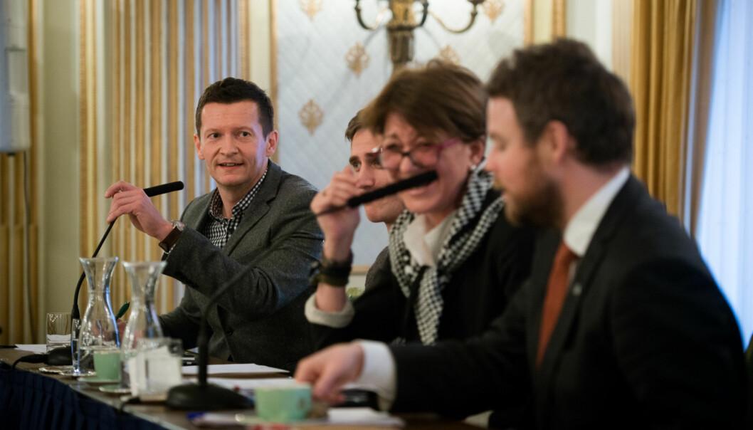 Terje Mørland lengst til venstre inviterer hele utdannings-Norge til fusjons- struktur og kvalitetsdebatt iBergen. Foto: Skjalg Bøhmer Vold