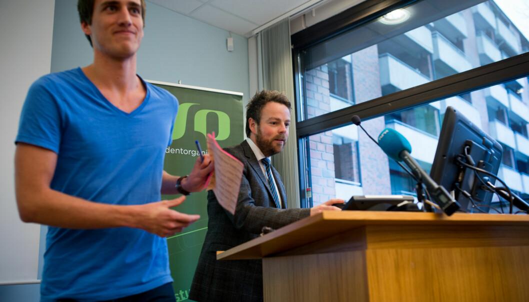 Leder i Norsk studentorganisasjon, Ola Magnussen Rydje, mener stillingsvernet i tjenestemannsloven har for mange negative sider og forventer at statsråden targrep. Foto: Skjalg Bøhmer Vold