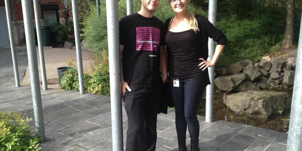 Torbjørn Jonassen og Suzanne Nordgård krever rask bedring av det nye rombookingssystemet påhøgskolen. Foto: Eva Tønnessen
