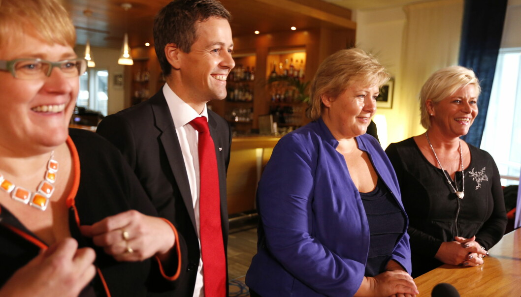 De fire borgerlige partilederne etter sonderingssamtaler i Nydalen denne uka. De møtes av store forventninger fra universitets- oghøgskolesektoren. Foto: NTB scanpix
