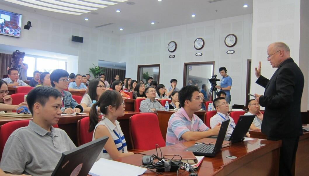 Tilsettingsforelesning for nye lærere ved China Open University mandag 2.september. Foto: Jingru Høivik