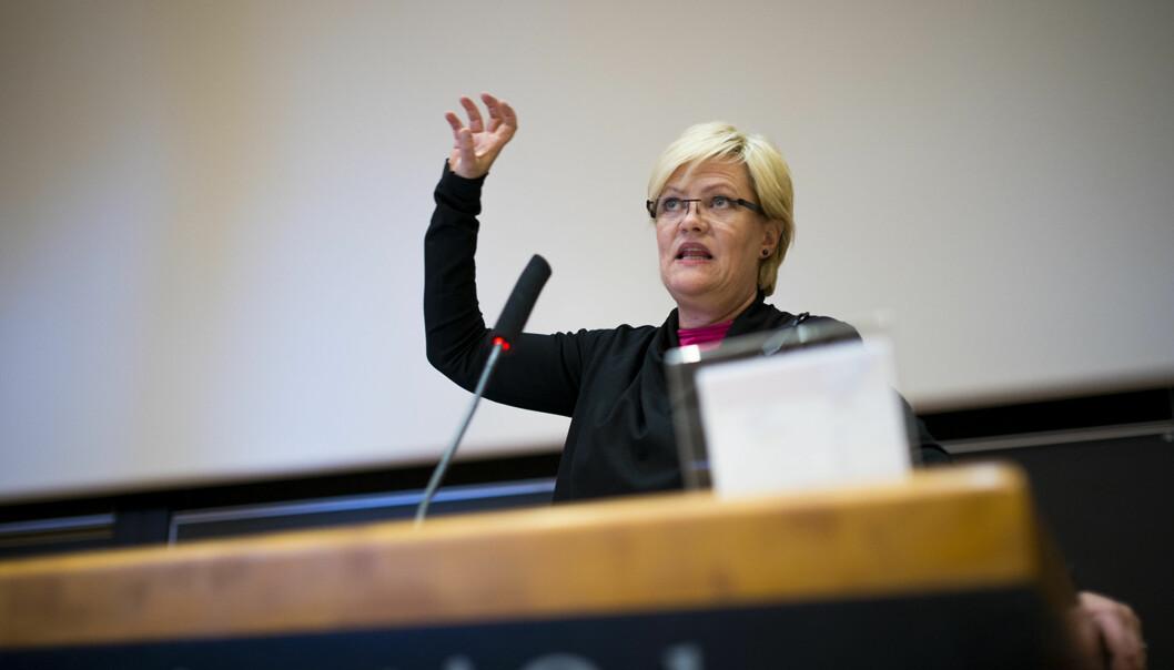 Tirsdag presenterte Kristin Halvorsen tilstanden i høyere utdanning. Vitenskapelig publisering er en av mange elementer som blir målt ogvurdert. Foto: Skjalg Bøhmer Vold