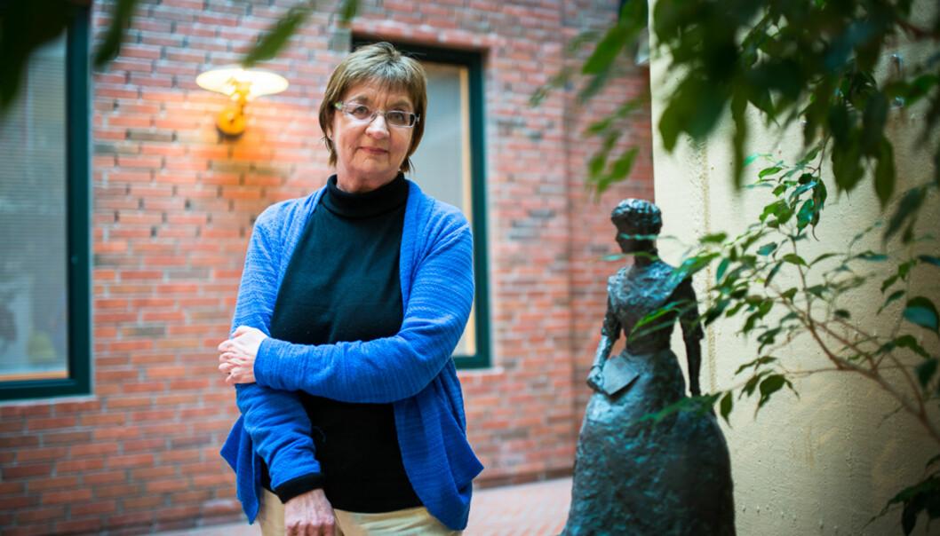 – Kvinnene går i det såkalte glasstaket på HiOA også, sier Svanhild Aabø. På tross av stort flertall av kvinnelige ansatte, finner vi flest menn itoppstillinger. Foto: Skjalg Bøhmer Vold