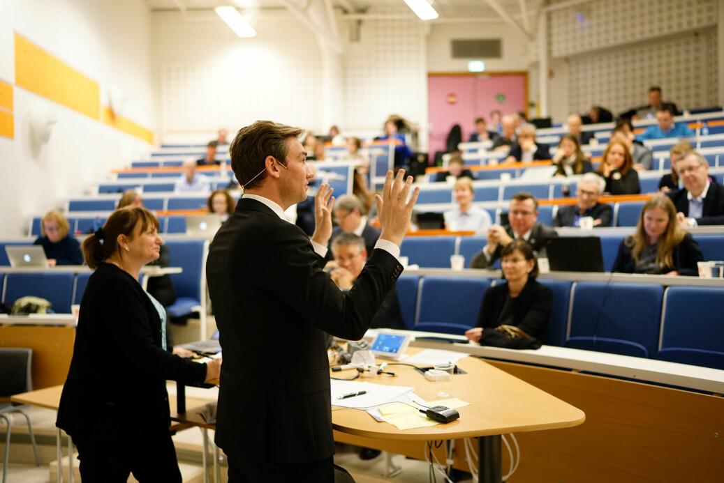 Henrik Asheim snakket med rektorer og studenttopper under representantskapsmøtet til UHR denne uken. Foto: Ketil Blom Haugstulen