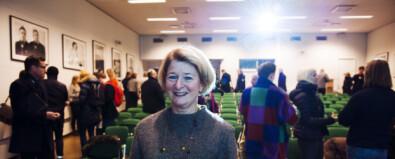 Rektor Anne Husebekk møtte ansatte og studenter ved Kunstfakultetet og Tromsø museum onsdag. Foto: Adnan Icagic