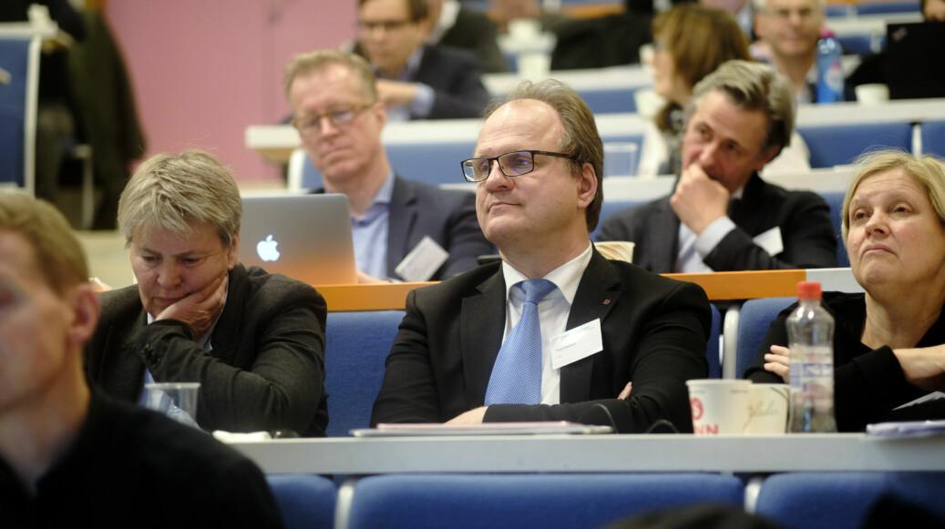 Agder-rektor Frank Reichert i UHR-møtet på Lillehammer i november, der arbeidsgruppen mot seksuell trakassering i akademia ble vedtatt. Foto: Ketil Blom Haugstulen
