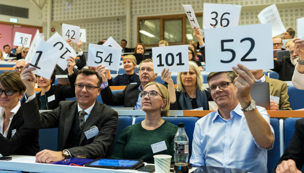 Toppene i universitets-og høgskolesektoren møttes på Lillehammer nylig. Over en tredjedel av de ansatte mener at utviklingen i sektoren går i en autoritær retning. Foto: Ketil Blom Haugstulen