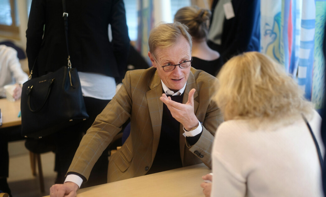 Rektor Peter Tornquist ved Norges musikkhøgskole, her på representantskapsmøte i Universitets- og høgskolerådet, der seksuell trakassering var et tema. Foto: Ketil Blom Haugstulen