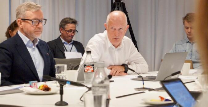 Torger Ødegaard t.v. stemte for OsloMet, Anton Havnes mot. Foto: Øystein Fimland