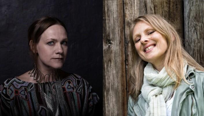 Artistene Anneli Drecker (t.v.) og Torun Eriksen er fast ansatt i halve stillinger ved Universitetet i Agder. Foto: UiA