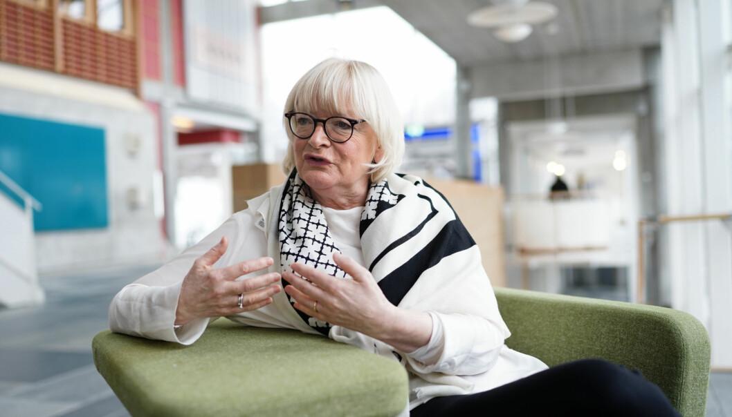 Høgskulen på Veslandet har fått nye språkploitiske reningslinjer, her rektor Berit Rokne. Foto: Ketil Blom Haugstulen