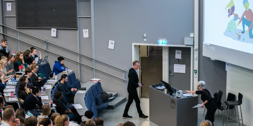 Rektor Curt Rice åpnet nytt tverrfaglige kurs på Høgskolen i Oslo og Akershus for 500 studenter. Foto: David Engmo