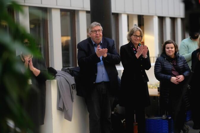 Ordfører i Skedsmo, Ole Jacob Flæten (t.v.) sammen med styreleder Trine Syvertsen. Foto: Ketil Blom Haugstulen