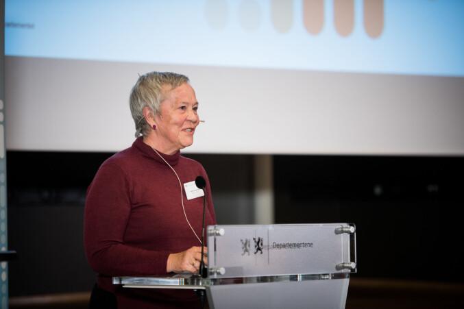 Kathrine Skretting taler på Kontaktkonferansen. Foto: Skjalg Bøhmer Vold