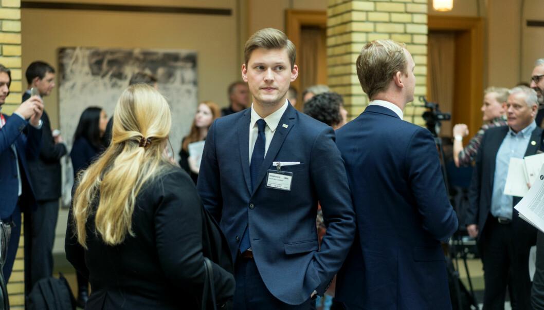 NSO-leder Mats Johansen Beldo mener Venstre må levere med egen forsknings- og høyere utdanningsminister. Foto: Ketil Blom Haugstulen