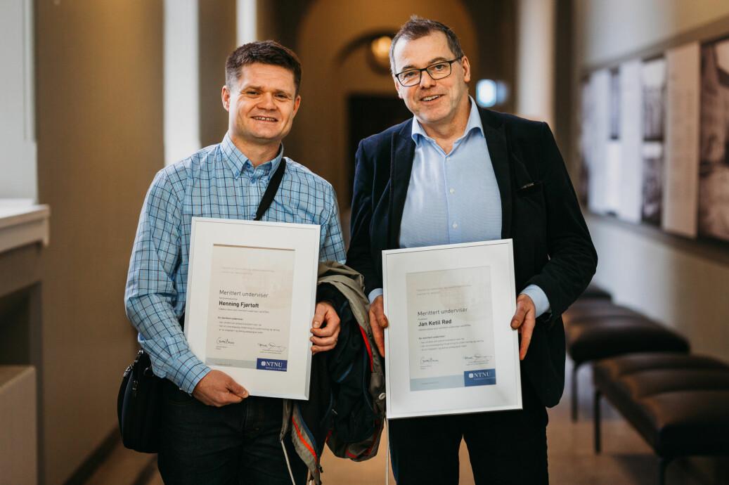 Henning Fjørtoft (t.v.) og Jan Ketil Rød er to av NTNUs nye meritterte undervisere. Foto: Julie Gloppe Solem/NTNU