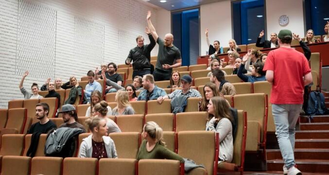 Fra allmøtet på sykepleieutdanningen på daværende Høgskolen i Oslo og Akershus i 2016. Foto: Skjalg Bøhmer Vold