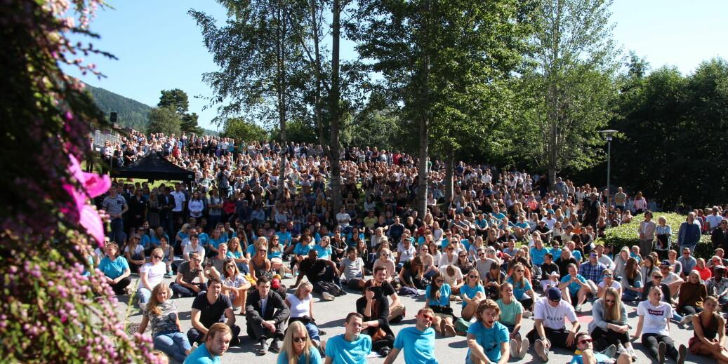 Høgskulen i Volda er populær blant årets søkere til høyere utdanning, her fra studiestart i 2017. Idrettshøgskolen er årets vinner med vekst på 46,9 prosent. Foto: Høgskolen i Volda