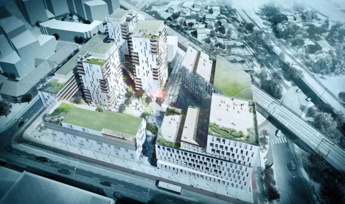 Skisse fra Dark arkitekter over Meieritomta på Lillestrøm - hvor de ønsker deler av OsloMet skal flytte inn.