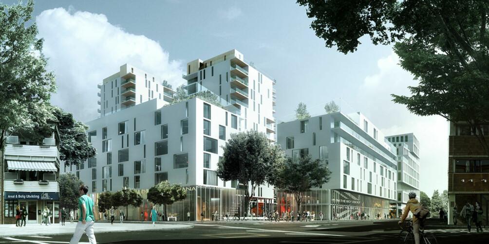 Slik kan OlsoMets nye campus på Lillestrøm bli dersom man velger Meieritomta i byen. Illustrasjon: Dark arkitekter