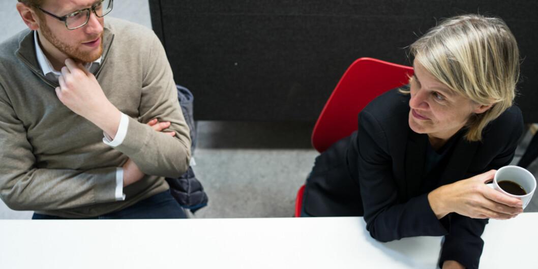 Martin Henriksen og Nina Sandberg trekker fram utfordringer med midlertidighet samme dag som Stortinget vedtar ny og revidert langtidsplan for forskning og høyere utdanning. Foto: David Engmo