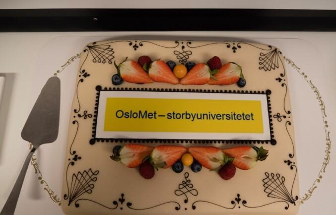 Styreleder Trine Syvertsen og de andre i landets ferskeste universitetsstyre fikk servert kake på torsdagens styremøte. Foto: Petter Berntsen