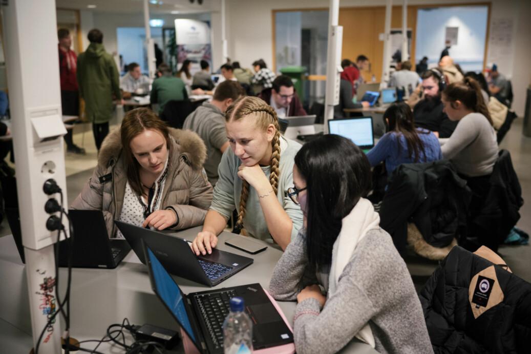 Ellen Opsahl Vinbæk , Frida Pettersen og Natcha Nanthawisit på arbeidsrommet for it- og datafag på OsloMet – storbyuniversitetet. Foto: Ketil Blom Haugstulen