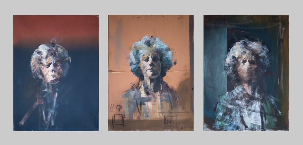 På rektorkontoret til Svein Stølen, i Lucy Smiths Hus, ved Universitetet i Oslo, henger nå Håkon Gullvågs tre skisser av Lucy Smith-portrettet. I 1981 ble Lucy Smith første norske kvinne som avla juridisk doktorgrad . Foto: Anders Lien/UiO