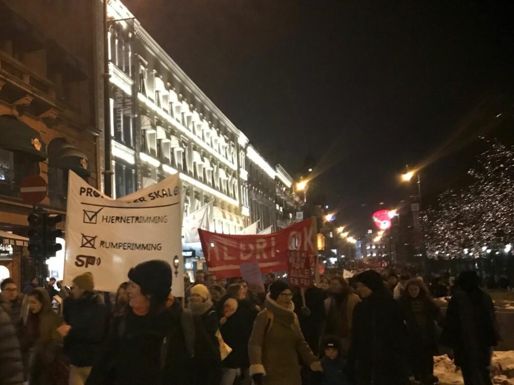 Studentparlamentet ved Unviersitetet i Oslo hadde med sin egen parole i årets 8.marstog i hovedstaden. Foto: Tove Lie