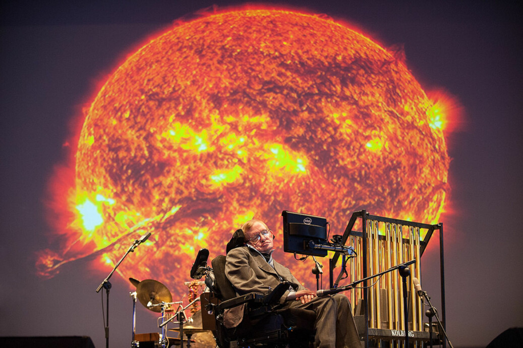 Stephen Hawking har gått bort, 76 år gammel. Her fra et foredrag under STARMUS på Tenerife i 2014. Foto: STARMUS