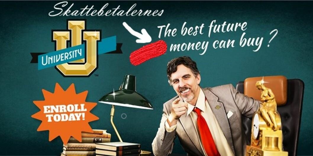 En redigert versjon av ett av SAIHs kampanjebilder, der ordet <i>your </i>er byttet ut <i> </i>med <i>skattebetalernes</i>. Orginalversjon: SAIH. Redigert versjon: Andreas Gravdahl