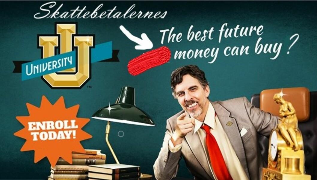 En redigert versjon av ett av SAIHs kampanjebilder, der ordet your er byttet ut  med skattebetalernes. Orginalversjon: SAIH. Redigert versjon: Andreas Gravdahl