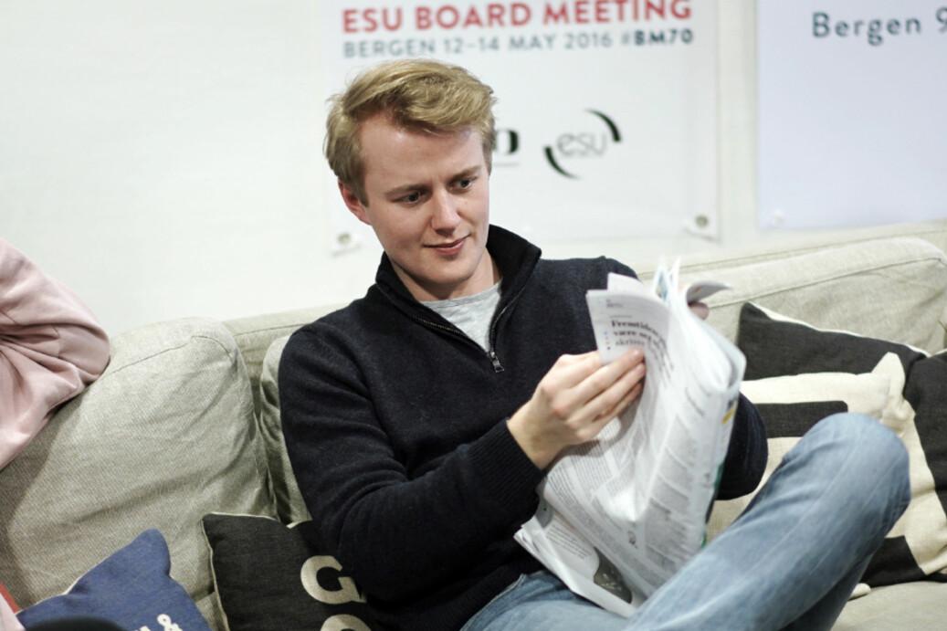 NSO-lederkandidat Håkon Randgaard Mikalsen mener man må være heltidsstudent slik høyere utdanning er lagt opp. Foto: Ketil Blom Haugstulen