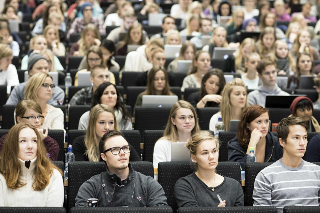 Studentene ved profesjonsstudiet i psykologi demonstrerte mot flytting av klinikkene. Illustrasjonsfoto fra en forelesning i 2013: SVT NTNU/Kim Ramberghaug