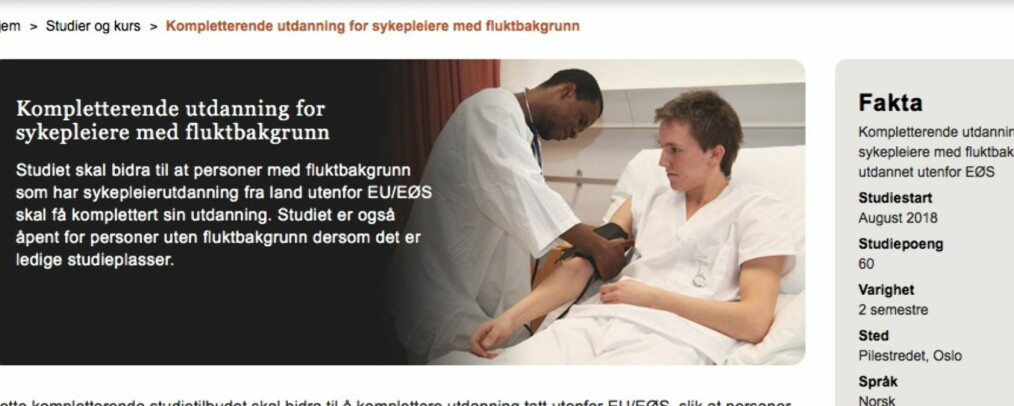 I skrivende stund har OsloMet allerede åpnet for innvandrere uten flyktningebakgrunn på nettsidene om studietilbudet (Skjermdump 20. mars kl. 16:45).