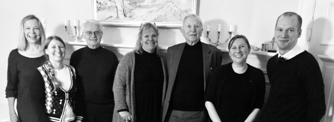 Fra venstre: Borghild Roald, Guro Lind, Ernst Alsaker, Sidsel Roalkvam, Arve Johnsen, Herdis Hølleland (prisens administrator) & Magnus Aronsen.