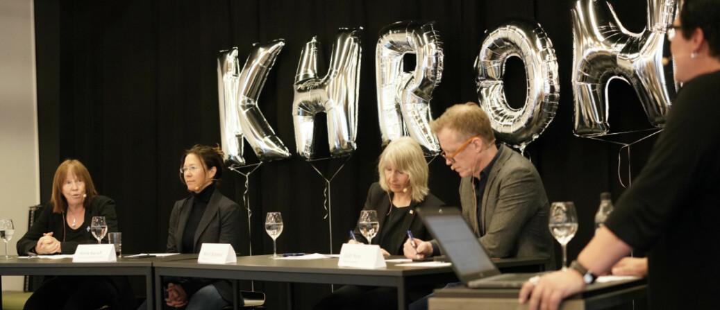 Khrono feiret fem år og markerte det med debatt om ytringskultur og ytringsmot, tidligere i år. F.v. Elisabeth Eide, Anine Kierulf, Marit Boyesen og Curt Rice i panelet. Foto: Ketil Blom Haugstulen